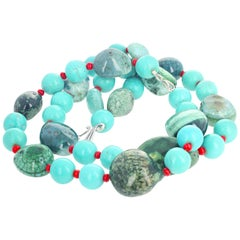 Huge Green Canadian Jade, Turquoise, and Coral Double Strand Necklace