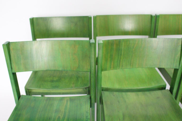 Green Carl Auböck Dining Room Chairs, Vienna, 1956, Set of Eight For Sale 5