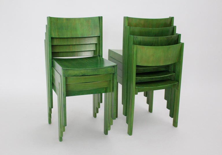 Green Carl Auböck Dining Room Chairs, Vienna, 1956, Set of Eight For Sale 7