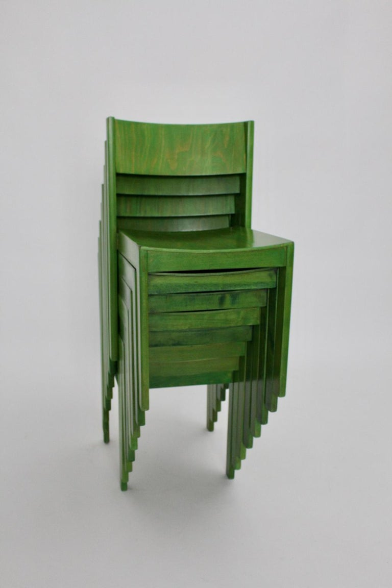 Green Carl Auböck Dining Room Chairs, Vienna, 1956, Set of Eight For Sale 9