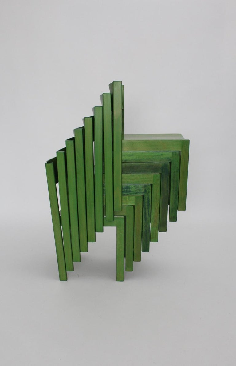 Green Carl Auböck Dining Room Chairs, Vienna, 1956, Set of Eight For Sale 10