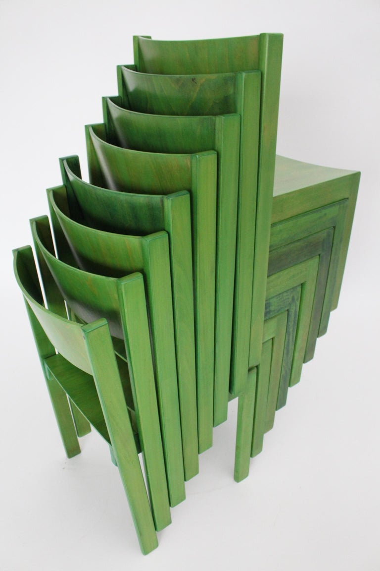 Green Carl Auböck Dining Room Chairs, Vienna, 1956, Set of Eight For Sale 12