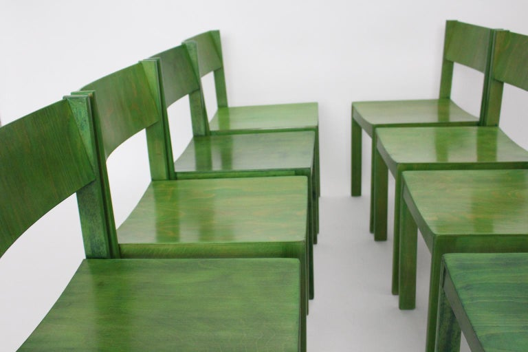 20th Century Green Carl Auböck Dining Room Chairs, Vienna, 1956, Set of Eight For Sale