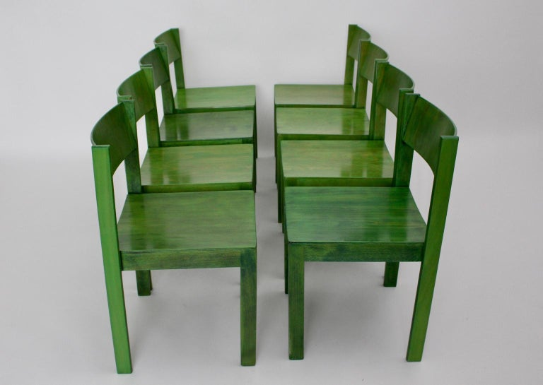 Green Carl Auböck Dining Room Chairs, Vienna, 1956, Set of Eight For Sale 2