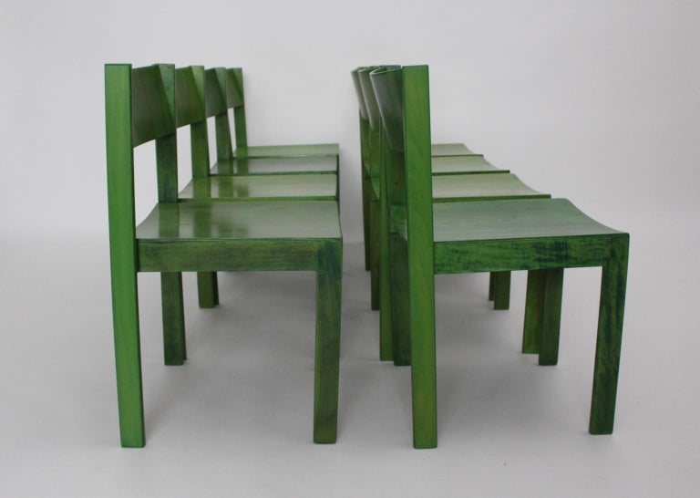 Green Carl Auböck Dining Room Chairs, Vienna, 1956, Set of Eight For Sale 3