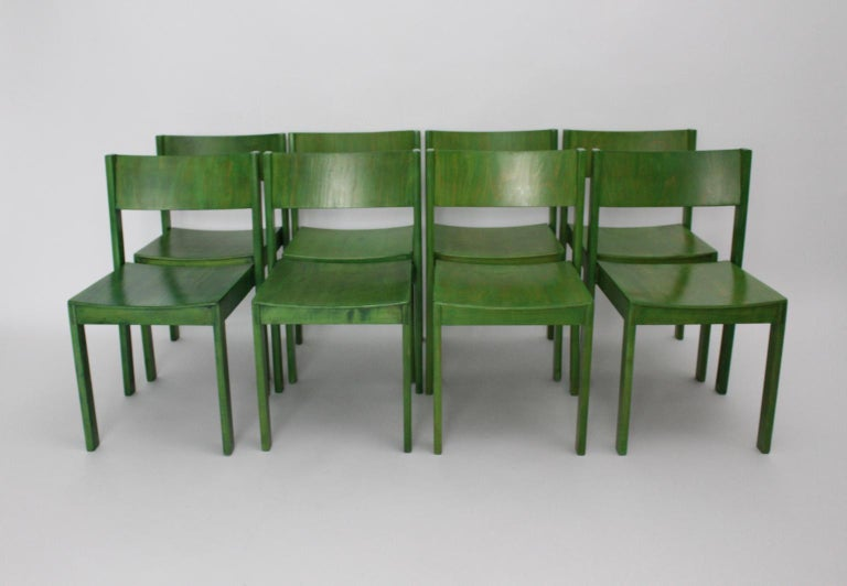 Green Carl Auböck Dining Room Chairs, Vienna, 1956, Set of Eight For Sale 4