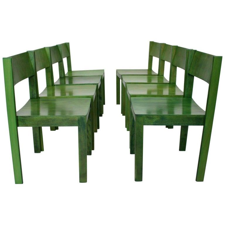 Green Carl Auböck Dining Room Chairs, Vienna, 1956, Set of Eight For Sale