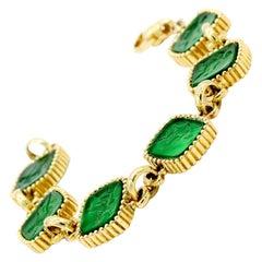 Green Carved Italian Murano Glass Cameo Intaglio Bracelet 18 Karat Yellow Gold