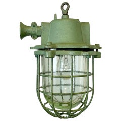 Green Cast Iron Industrial Cage Pendant Light, 1960s