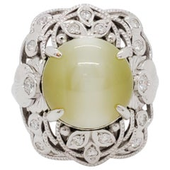 Green Cat's Eye Chrysoberyl Cabochon Round and White Diamond Cocktail Ring