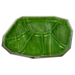 Green Centerpiece in Perspex Marble Effect and Chrome, Italy, 1970s