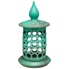 Green Ceramic Candle Lantern with Bronze Glaze