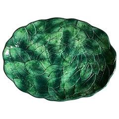 Green Ceramic Italian Leaf Motif Oval Platter, Ceramiche Leonardo
