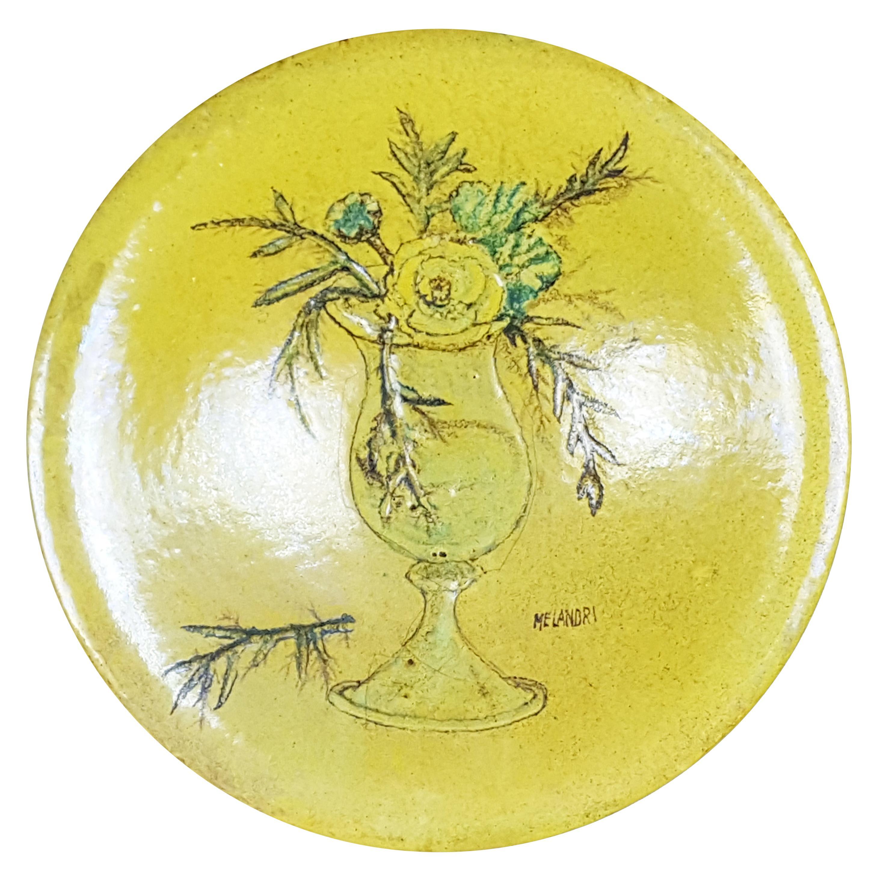 Green Ceramic Mid-Century Modern Decorative Plate by P. Melandri with Still Life