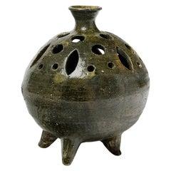 Green Ceramic Pottery Vase Spades Flowers by Moly Sabata Famechon Carlin Dangar