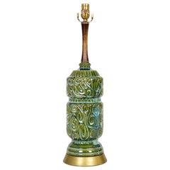 Green Ceramic Swirl Texture Lamp w/ Walnut Neck & Brass Base