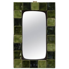 Green Ceramic Tiled French Wall Mirror, circa 1970s