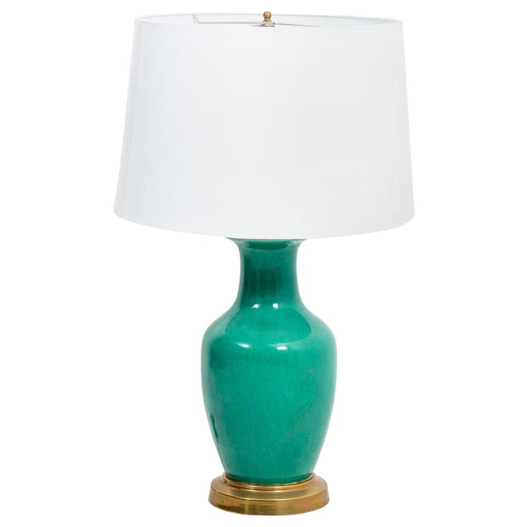 Green Ceramic Vase Lamp For Sale