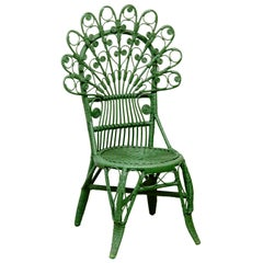 Green Chair Mid-Century Modern Bamboo and Rattan, circa 1960