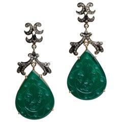 Green Chalcedony and Diamond Dangle Chandelier Earrings