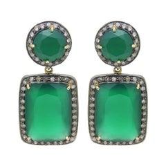 Green Chalcedony, Silver & Diamond Drop Earrings