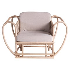 Green Channel Armchair with White Frame