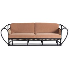 Green Channel Sofa with Black Frame