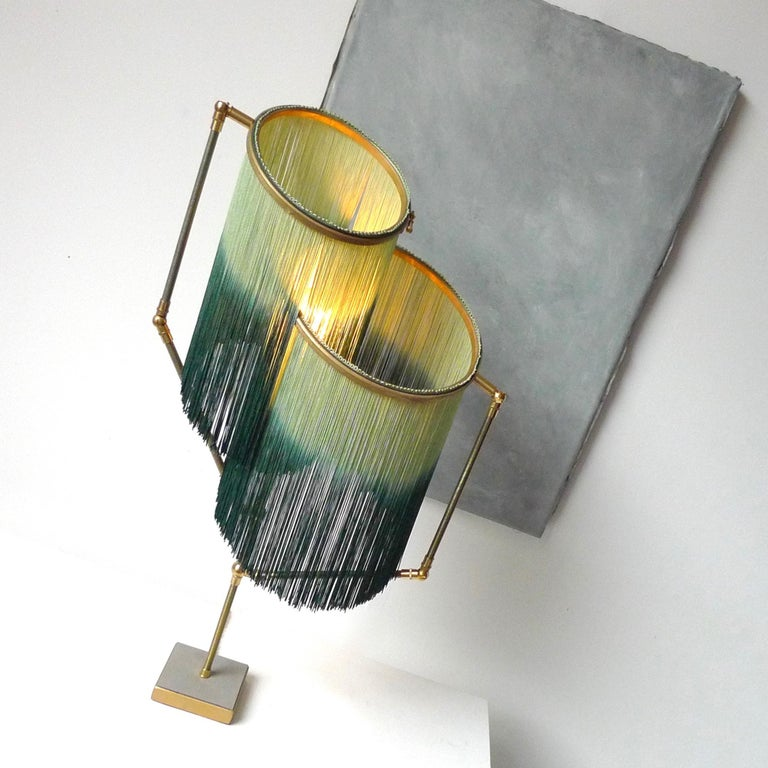 Brass Green Charme Table Lamp, Sander Bottinga For Sale
