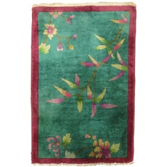 Green Chinese Art Deco Scatter Rug