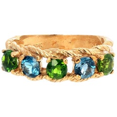 Green Chrome Diopside and Blue Topaz Yellow Gold Ring