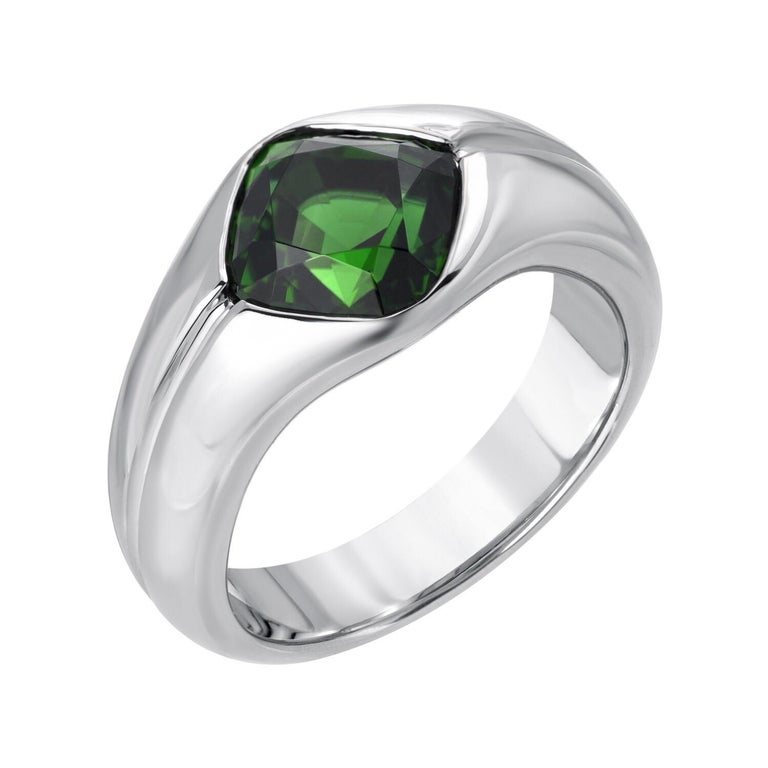 Vivid 3.30 carat Chrome Tourmaline cushion, is hand set in this unique unisex platinum ring. The widest part on top measures 0.45 inches. Crafted in platinum by extremely skilled hands in the USA. Size 8.5. Re-sizing is limited and complimentary