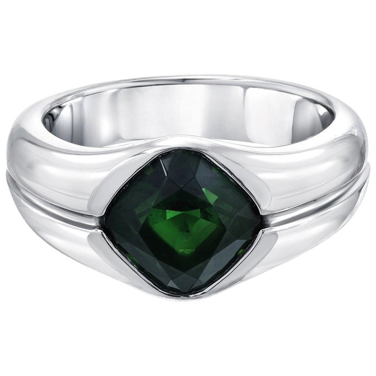 Green Chrome Tourmaline Platinum Unisex Band Ring For Sale