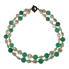 15 Inch Green Chrysoprase and White Baroque Pearl Double Strand Choker Necklace