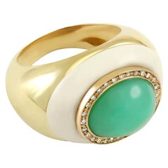 Green Chrysoprase and White Diamond Cocktail Ring Made in Italy