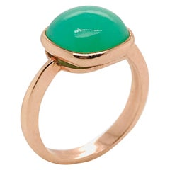 Green Chrysoprase Chalcedony on Rose Gold Ring 18 Karat