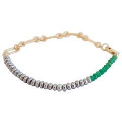 Green Chrysoprase Silver Pearl Gold Filled Chain Bracelet J Dauphin