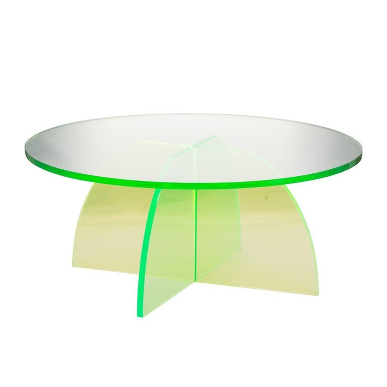 Green Circular Acrylic Coffee Tables, Sheer by Carnevale Studio For Sale