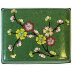 Green Cloisonné Enamel and Brass Jewelry Box