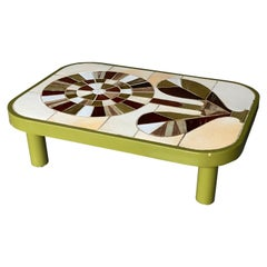 Green Cocktail Table with Ceramic Tile Top, Roger Capron, France, 1960s