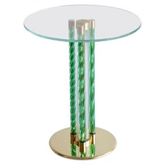 Green Coffe Table in Blown Murano Glass and Brass Frame Italy Contemporary