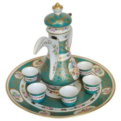 Green Coffee Service for Six, Finely Decorated Porcelain Limoges, 20th Century