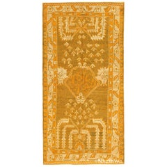 Green Color Antique Turkish Oushak Rug. Size: 3 ft 5 in x 6 ft 5 in