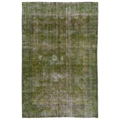Green Color Distressed Vintage Rug for Modern Home and Office Decor
