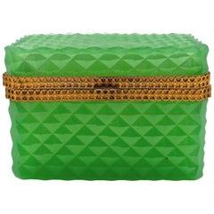 Green Colored Bohemian Crystal Box