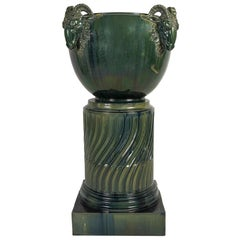 Green Column by Massier, Vallauris, France, circa 1880