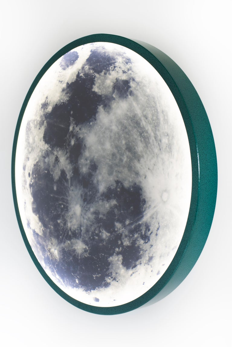 Blackened Green Contemporary Steel and Glass Wall-Mounted Moon Light Sconce For Sale