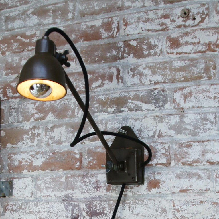 Green Copper Vintage Industrial Scones Wall Lights In Good Condition In Amsterdam, NL