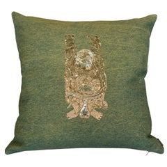 Green Cotton Pillow with Silver Sequin Buddha Embroidery
