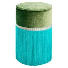 Green Couture Geometric Bicolor Pouf