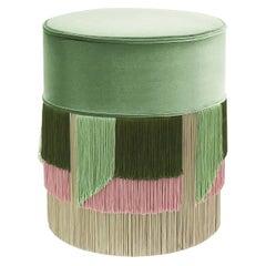 Green Couture Geometric Flo Round Pouf